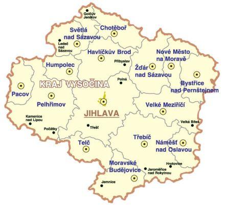 Map Of Vysocina Holiday Cz